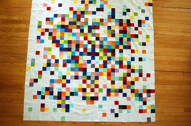 awesome quilt top - very coolEllsworth Kelly, Quilt With Kids Clothing, Painting Chips, Quilt Ideas, Awesome Quilt, Pixel Quilt, Baby Girls, Quilt Tops, Pixel Art