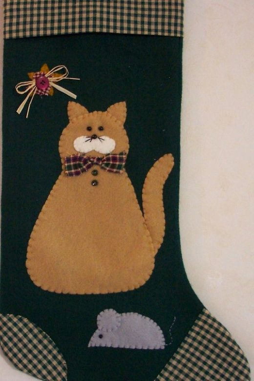 Cat Christmas Stocking - Cat and Mouse