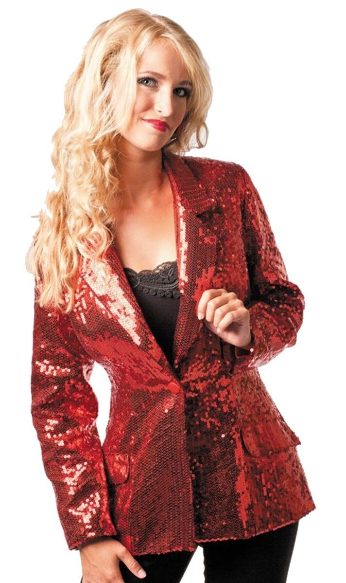 Dit rode jasje met pailletten is op onze website verkrijgbaar!
