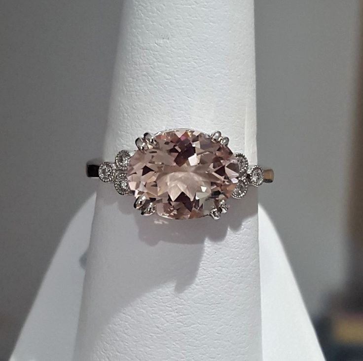 14K White Gold Genuine 3.31ctw Morganite & Diamond Ring *Gorgeous Blush Color* | Jewelry & Watches, Engagement & Wedding, Engagement Rings | eBay!