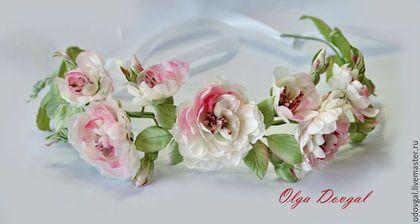 Веночек для невесты, изготовлен вручную с нуля.  Японские ткани .Мастер Ольга Д.