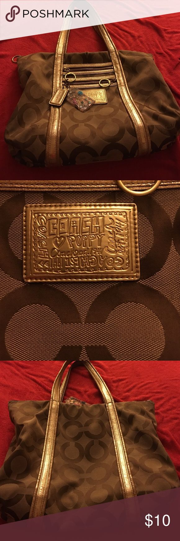 Coach poppy purse Beige and gold C POPPY purse. Used. Bought it 6 yrs ago. It's a really cute purse but it does have one little rip in the front and in the back. Coach Bags Shoulder Bags