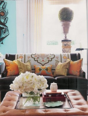 Styling. Mixing color, pattern.: Decor, Coffee Tables, Interior, Sofa, Living Rooms, Color, Livingroom, House, Ottoman