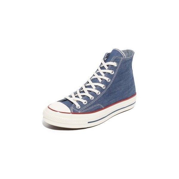 Converse Chuck Taylor All Star 70s High Top Sneakers (440 CNY) ❤ liked on Polyvore featuring men's fashion, men's shoes, men's sneakers, mens denim shoes, mens high top sneakers, g star mens shoes, mens high top shoes and converse mens shoes