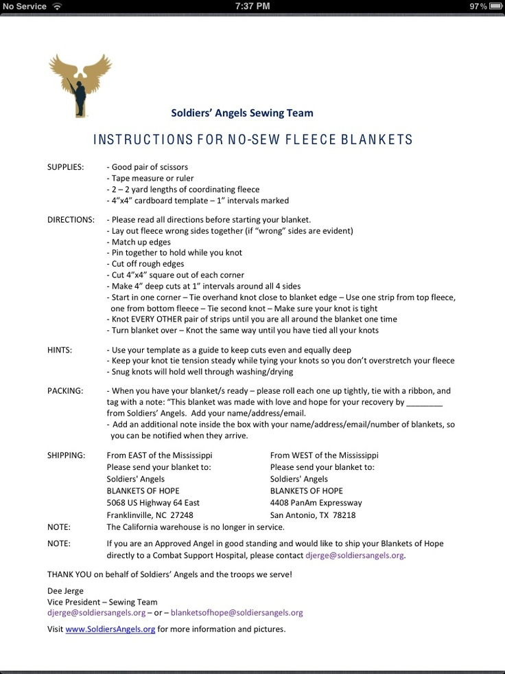 Instructions for no sew blankets
