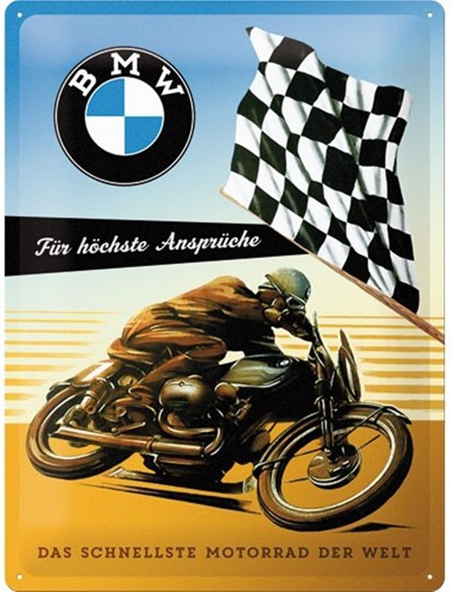 Bmw Racing Bike Large Embossed Steel Wall Sign 400mm X 300mm Na