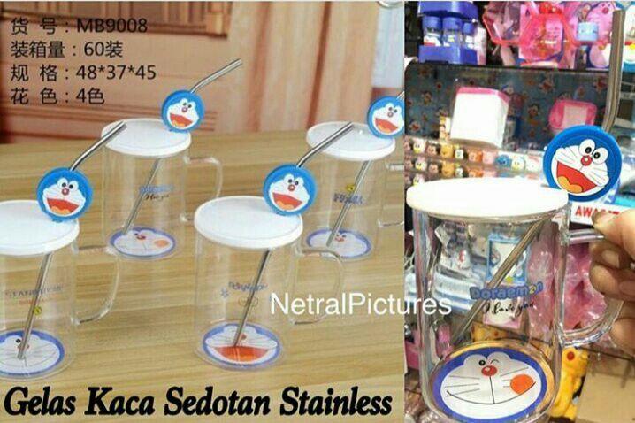 #gelas kaca + sedotan stainless #doraemon @ 70.000