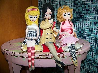 3 Vtg Forsum Cloth Pose Dolls Japan Big Eye Mod 60s Commomwealth of PA | eBay