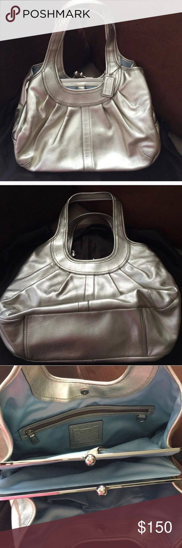 Authentic Coach Silver Shoulder Bag Authentic Coach Silver Shoulder Bag with light blue lining and 3 compartments as seen in pictures. Used twice for baby showers. In excellent condition as seen in pictures. Smoke free pet free home. Coach Bags Shoulder Bags
