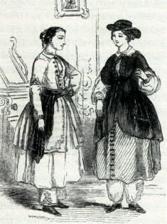 (Courtesy of Water-Cure Journal, January 1852)  Gaining popularity in the early nineteenth century, hydropathic therapy consisted of applying cold water to various parts of the body via showers, baths, or compresses. These precursors to modern day spas promoted healthy living, and the isolated locations of the spas made them perfect environments for women experimenting with dress reform. Anyone interested in hydropathy would have had easy access to information on the rational dress...