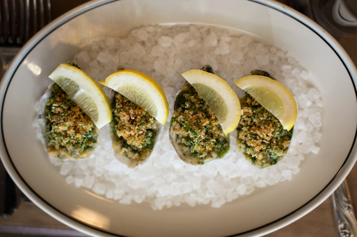 Oysters Rockefeller with spinach, Pernod and breadcrumbs