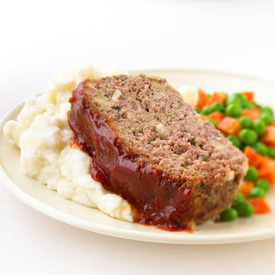 Easy To Fix Meat Loaf..****4.5Star Rating..Our time-honored meat loaf gives options for ground beef recipes galore. Mix and match sage, basil, or oregano with beef, pork, or lamb. Opt for our brown sugar-ketchup topper or simply substitute 1/3 cup of barbecue sauce.    Makes: 8 servings  Prep: 20 mins  Bake: 1 hr 10 mins 350°F  Stand: 10 mins