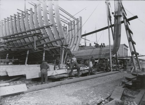 Shipbuilding Oakland Creek California 1905