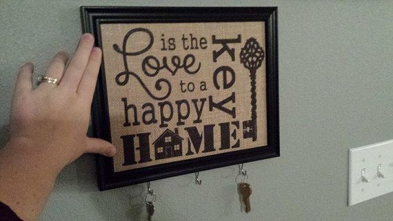 Burlap Print - Love is the Key to A Happy Home - Subway Art - Housewarming - Skeleton Key - 8.5 x 11 - Burlap ONLY