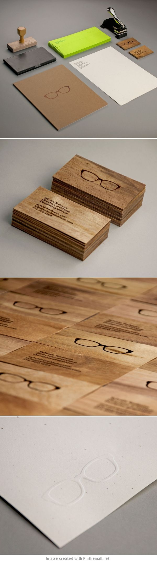 Self promotion idea.  Notice on the bottom slide, the letterpress impression of the glasses? You could get a die made of your logo or you could use your company seal - to put an imprint on everything you send out.  Nice subtle way of branding.