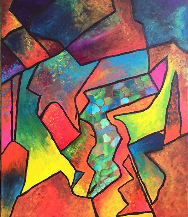 "This was a Multi Colour Acrylic Abstract painting 24"" x 30"" that represented a stream in the centre. Its very bright and is available for $500"