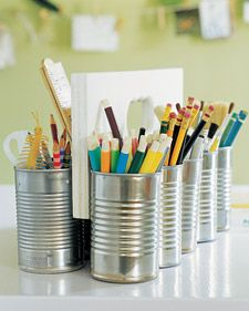 great use of recycled materials....: Tins, Tin Cans, Art Supplies, Diy, Storage Ideas, Crafts, Kid