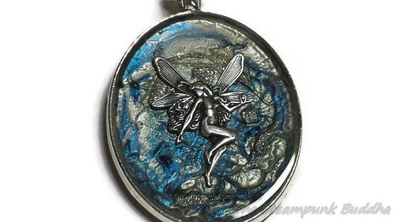 Fairy Fossil Blue and Silver Abstract by TheSteampunkBuddha