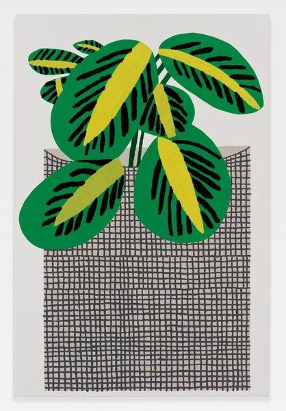 Jonas Wood Kiwi Plant with Grid Pot, 2014 Oil and acrylic on linen.