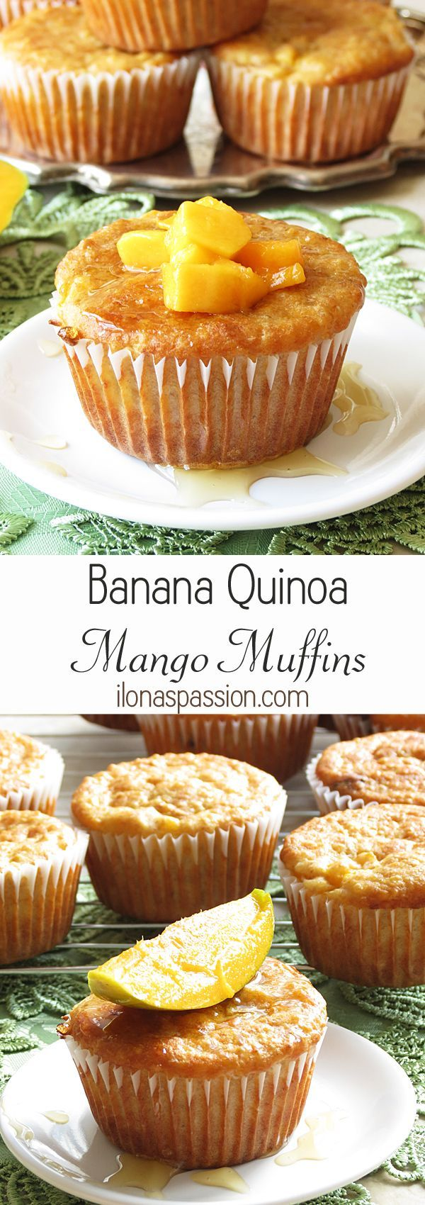Banana Quinoa Mango Muffins by http://ilonaspassion.com #quinoa #mangomuffins…