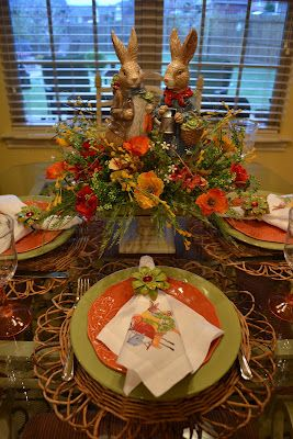 Pier 1 dishes, napkin rings, and placemats for an Easter tabletop. Napkins by Mary Lake Thompson.