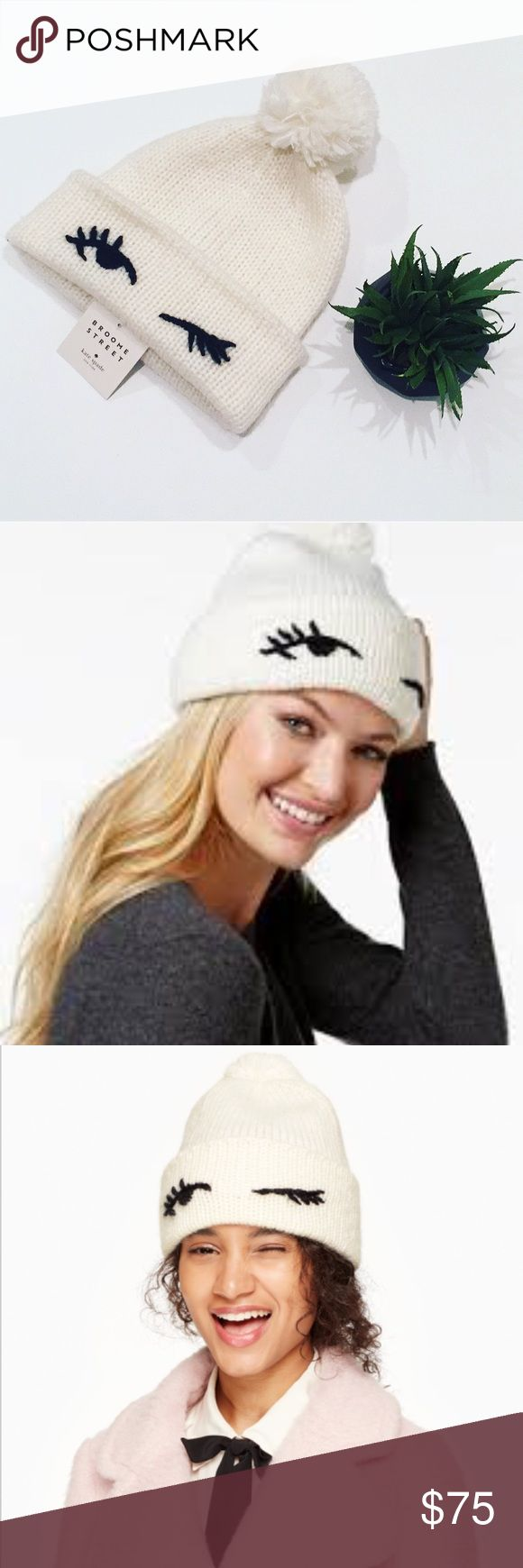 "NWTs Kate Spade winking beanie eyes up here: this adorable knit beanie is finished with a wink, resulting in a stylish cap that's as witty as it is warm. MATERIAL 80% acrylic 10% wool 10% mohair SIZE 10"" w x 10"" l style # ks1000748 No trades  Firm unless Bundled kate spade Accessories Hats"