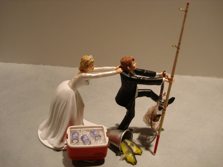 Fish Fishing Wedding Cake Topper...not anytime soon but how funny is this @Ellen Profitt @Katie Hollingshead Ostenson