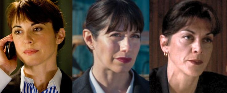 Occasionally, you come across a fine example of clonage occurring in triplicate... such is the case with Caroline Catz (center) of DCI Banks fame and Rebecca Pidgeon (L) who could be a dead ringer for her in the movie Red. And then we have Wendy Malick (R) who also has a very uncanny resemblance to the other two in an episode of The X-Files. It must be the hair style!