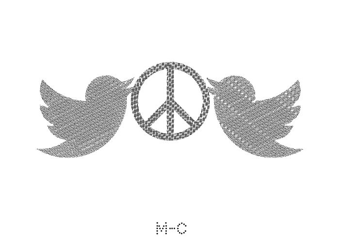 peaceful tweet.jpg, 2013  29.71x21.01 200dpi Myriad Pro regular 16pt @twitter@instagram@tumbler the most used symbols for hashtags composed as a LV's monogram or GG's pattern Twitter birds and PEACE icon re-created by communication code
