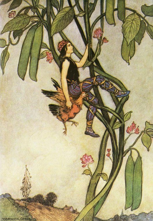 Jack and the Beanstalk -- illustration by Warwick Goble