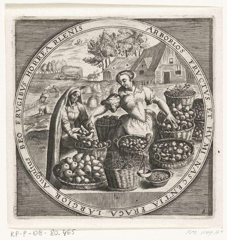 Anonymous | De maand augustus, fruitverkoopster, ca. 1600, Anonymous, Crispijn van de Passe (I), Maerten de Vos, 1600 - 1649 | Ronde voorstelling met de maand augustus. Een boerenvrouw verkoopt fruit aan een vrouw uit de stad, ca. 1600. Met het teken van de Maagd. Met randschrift in het Latijn. Prent nr. 8 in de serie van de twaalf maanden van het jaar verbeeld in scènes uit het volksleven.