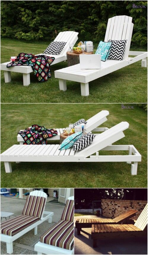 Sunbathing, relaxing in the shade; whatever your preference for summertime outdoor sitting, I've got a great collection of DIY loungers that will make those warm days seem even sweeter. Whether you're planning a get-together and want something to make your guests comfortable, or you just want a bit of outdoor relaxation, there is a lounge chair in this collection for you. via @vanessacrafting
