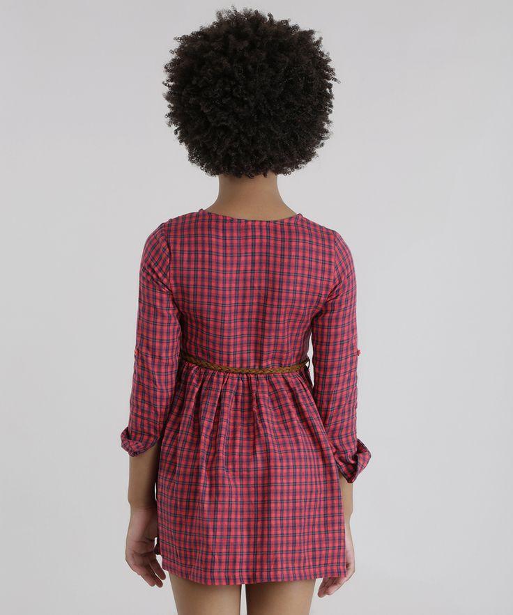 Vestido-Xadrez-com-Cinto-Vermelho-8443111-Vermelho_2