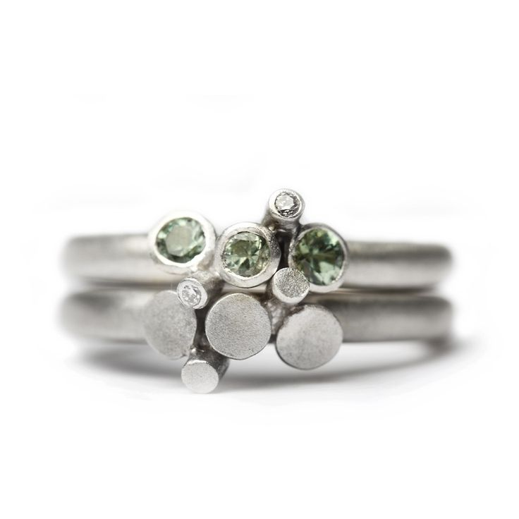 Silver bud set rings - Mirri Damer - Designers - Contemporary Jewellery
