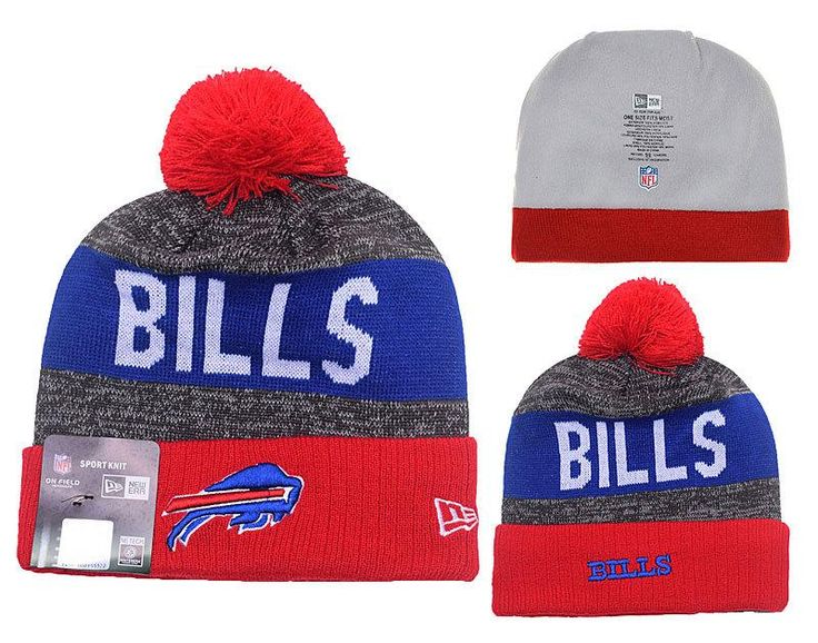 Men's / Women's Buffalo Bills New Era NFL 2016 Sideline Sprots Knit Pom Pom Beanie Hat - Red / Grey / Blue