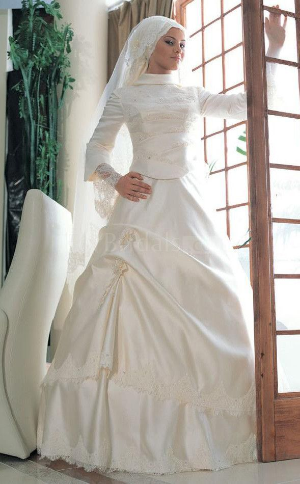 Ball Gown Satin Muslim Wedding Dress(FWD1252)