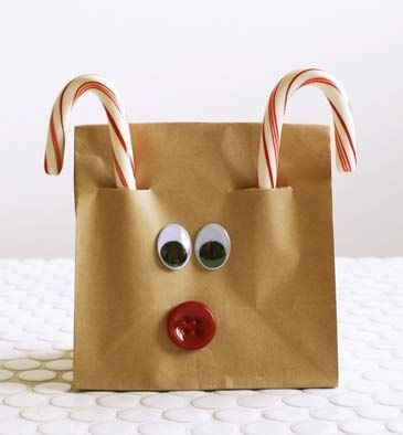 Reindeer Treat Bags - simple but cute - I LOVE this! Put those brown sack lunch bags to use even when the kids are out of school.   Three steps is all it takes for this simple paper bag Rudolph craft:     1.) Cut ½-inch slits about 1 inch from the edge of the paper bag.    2.) Slide two candy cane antlers in the slits.    3.) Glue on eyes and of course a red button nose.  ¸.•♥•.¸¸¸ Picture 6 of 7
