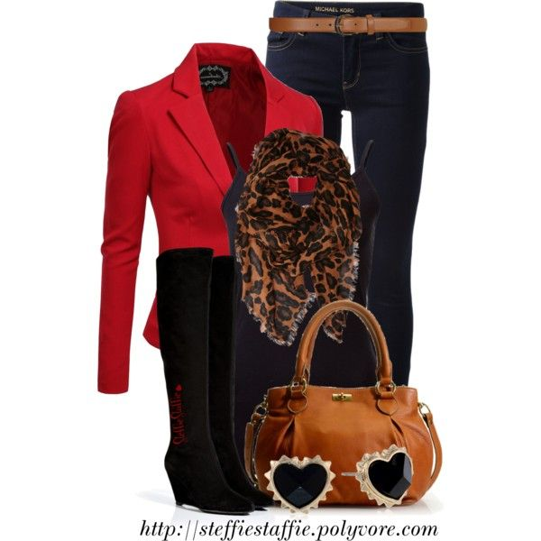 Suede Boots, Red Blazer  Leopard Scarf, created by steffiestaffie on Polyvore