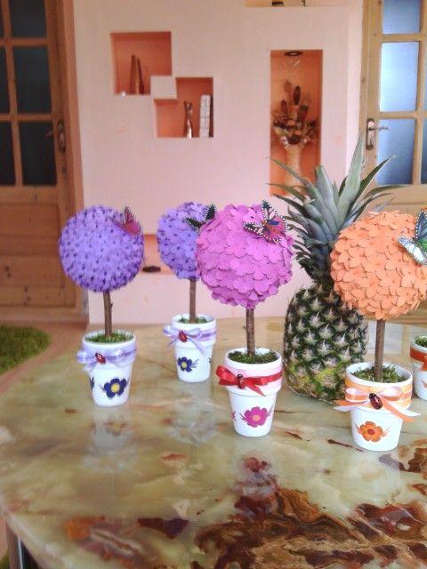 Ghiveci cu flori lucrate manual. Mai multe modele pe facebook:ulianahandmade.