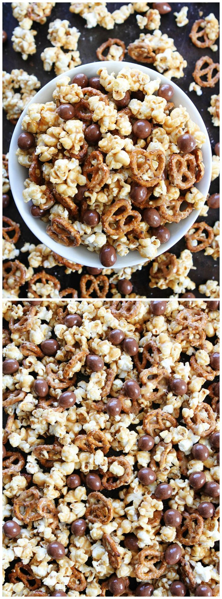 Peanut Butter Pretzel Caramel Corn Recipe on twopeasandtheirpod.com This sweet and salty caramel corn is amazing! Perfect for parties, game day, or movie night!