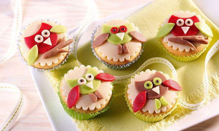 Eulen-Muffins - Süße Muffins mit einer Dekoration aus Marzipan