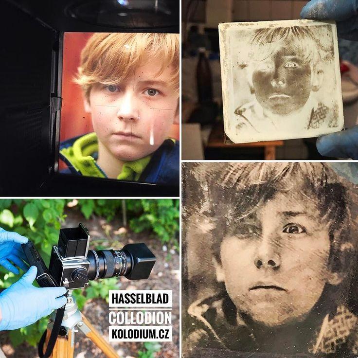Making of #ambrotype with my #Hasselblad. #Portrait of a young photographer - my skillful student  --- Focení #ambrotypie mým Hasselbladem. Portrét mladého fotografa - můj šikovný student  #closeup #headshot #150mm #7seconds #glassphotography #collage #collodionprocess #wetplate #collodionhumide #collodionhumide #workshop