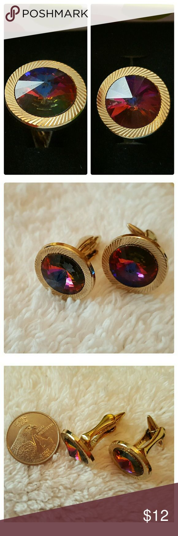 JUST IN: Vintage 1970s Cufflinks EUC Pair of cufflinks from at least 1970s, belonged to my dad. Excellent used condition.  Fully functional. Tiny bit of tarnish on the back. Gold tone with rainbow colored crystal, color changes depending on the light. Has PAI and a number stamoed on inside. It may be the Brand, not absolutely sure though. Accessories Cuff Links