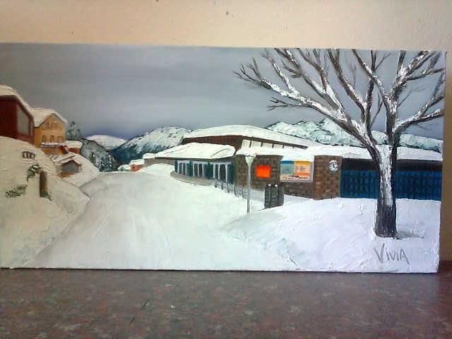 Oil on canvas. Done on commission. Switzerland. First time I did a snow landscape.