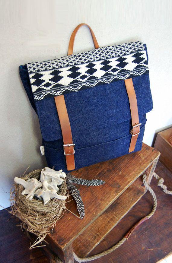 Shelter Rolston Denim Bag with Aztec Print