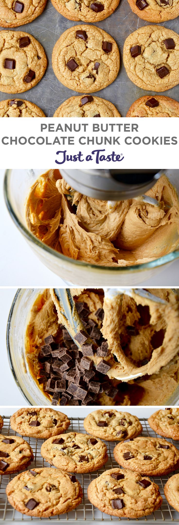 Peanut Butter Chocolate Chunk Cookies #recipe from justataste.com