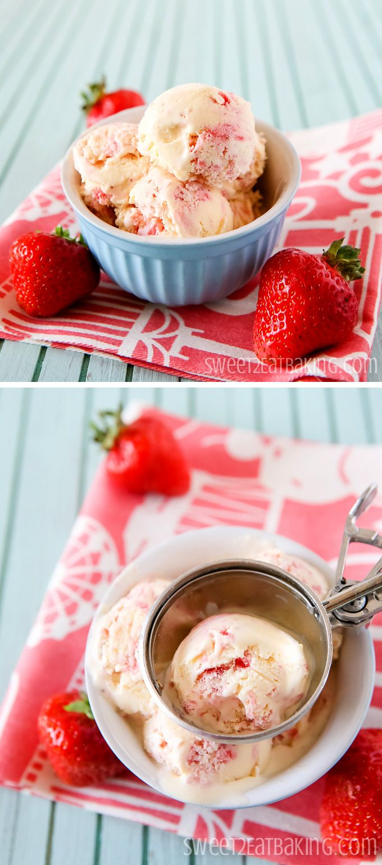Strawberry Clotted Cream Ice Cream | Sweet2EatBaking.com | #icecream #recipe #summer