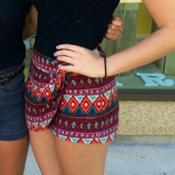Tribal shorts Tribal shorts, fold over on front to look like a skirt Forever 21 Shorts