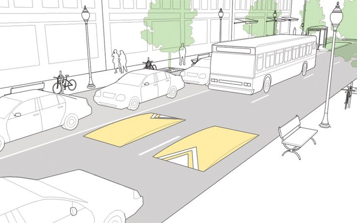 Speed Cushions explained and illustrated in the NACTO Urban Street Design Guide. Click image for details & visit our popular Streets for Everyone board >> http://www.pinterest.com/slowottawa/streets-for-everyone/