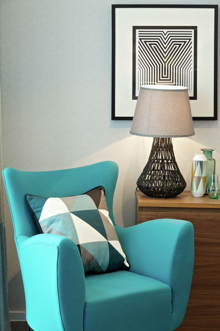 Suna Interior Design - The Filaments - Stylish design with wingback chair 'Ferm' design cushions and quirky artwork